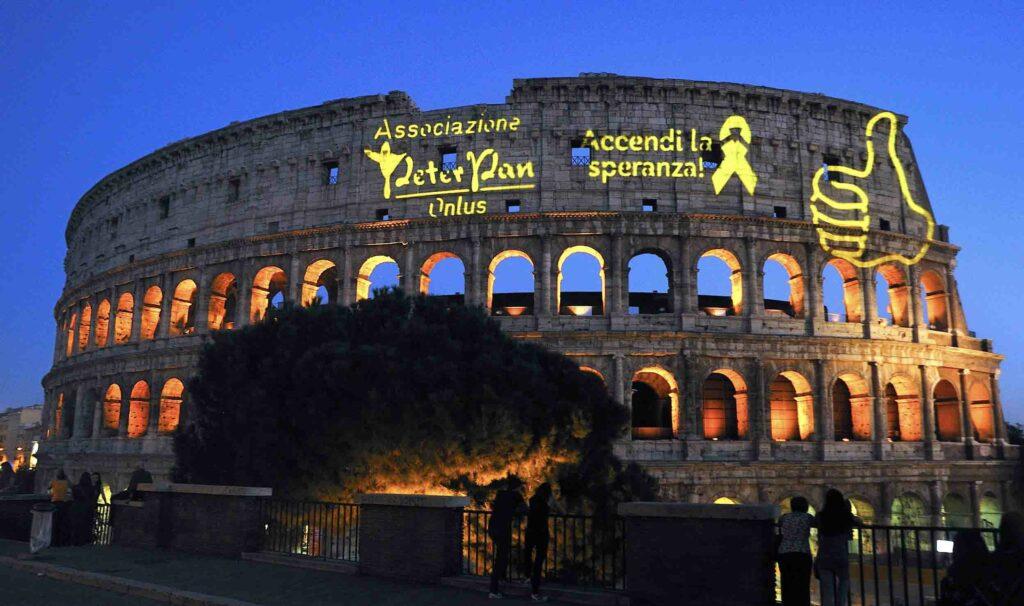 Tutti al Colosseo con Peter pan per il Settembre d'Oro dell'oncologia pediatrica