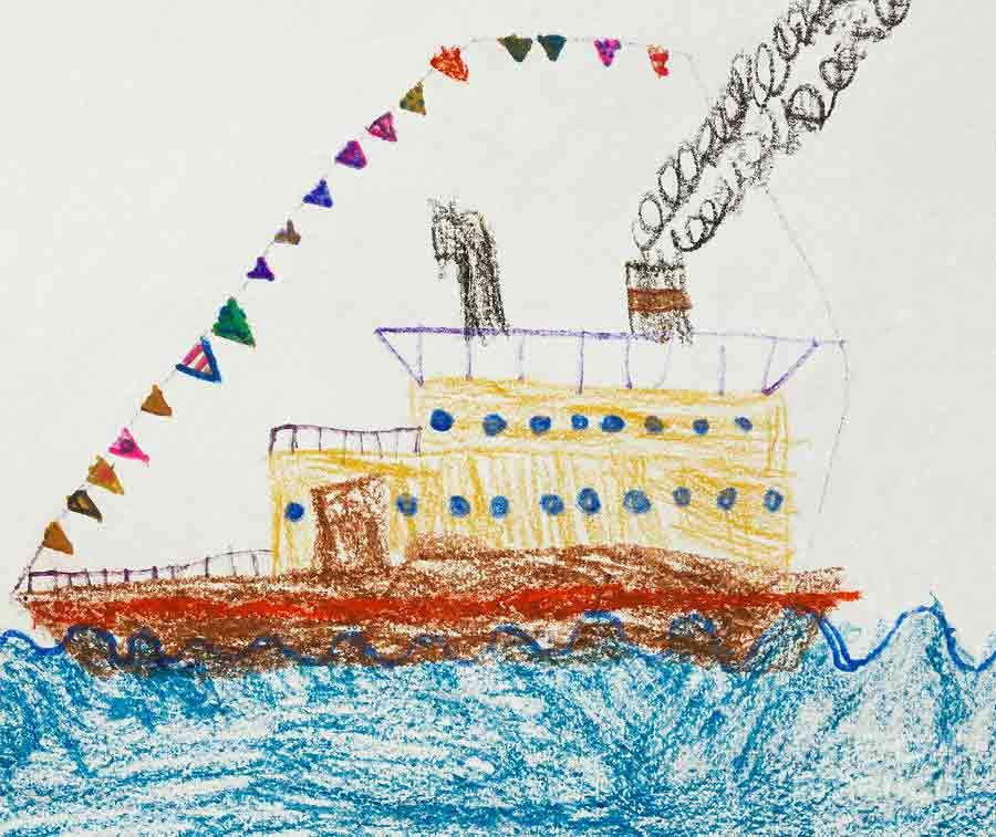Disegno barchetta preso da Kid's Drawing Of A Passenger Ship In The Sea by Kiril Stanchev