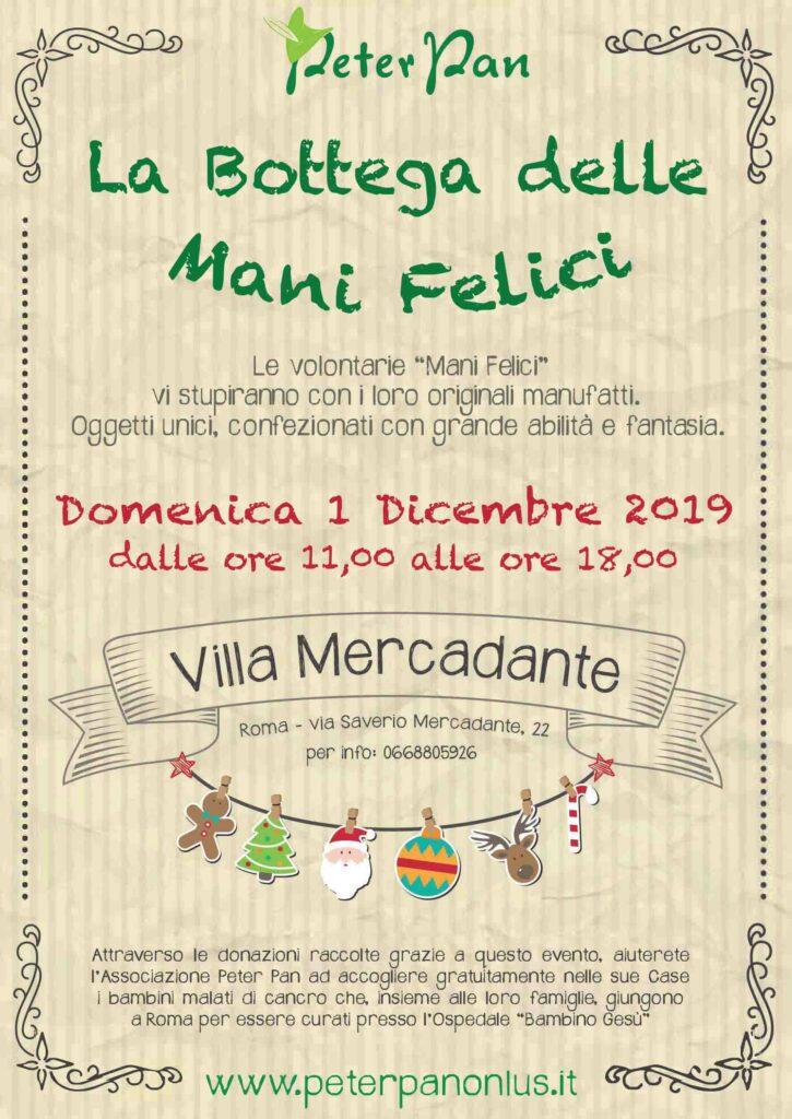 Torna il Mercatino natalizio di Peter Pan con i manufatti delle Mani Felici il 1 dicembre a Roma