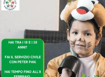 Servizio Civile Universale: Peter Pan cerca 4 giovani tra i 18 e i 28 anni