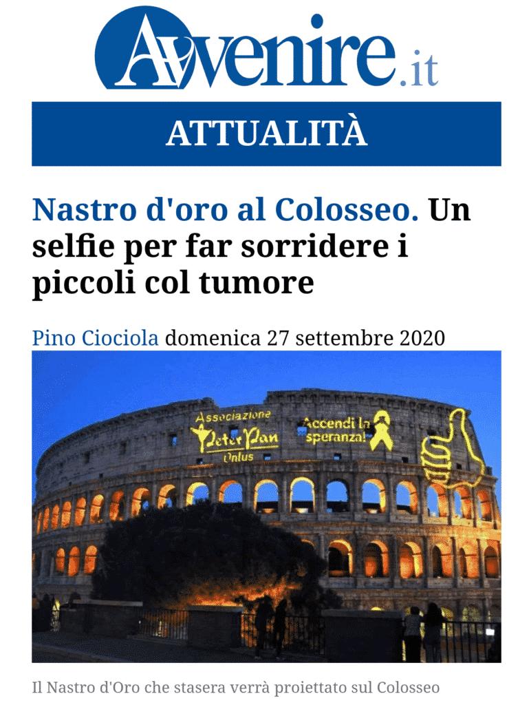 L'illuminazione dle Colosseo di Peter Pan sull'Avvenire