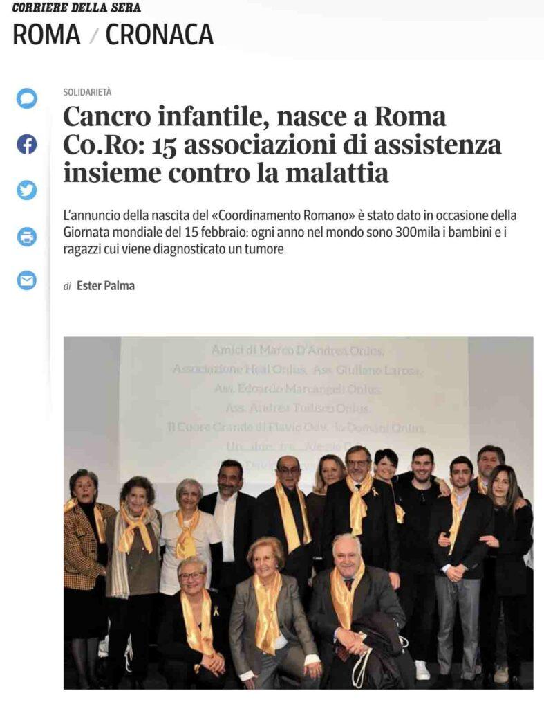 Articolo di Ester Palma sulla nascita del Coordinamento Romano oncoematologia pediatrica