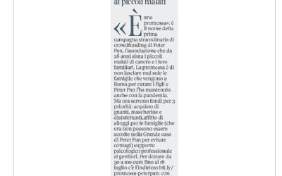 """Peter Pan e la """"promessa"""" ai piccoli malati. Articolo sul Corriere della Sera del 9 giugno"""