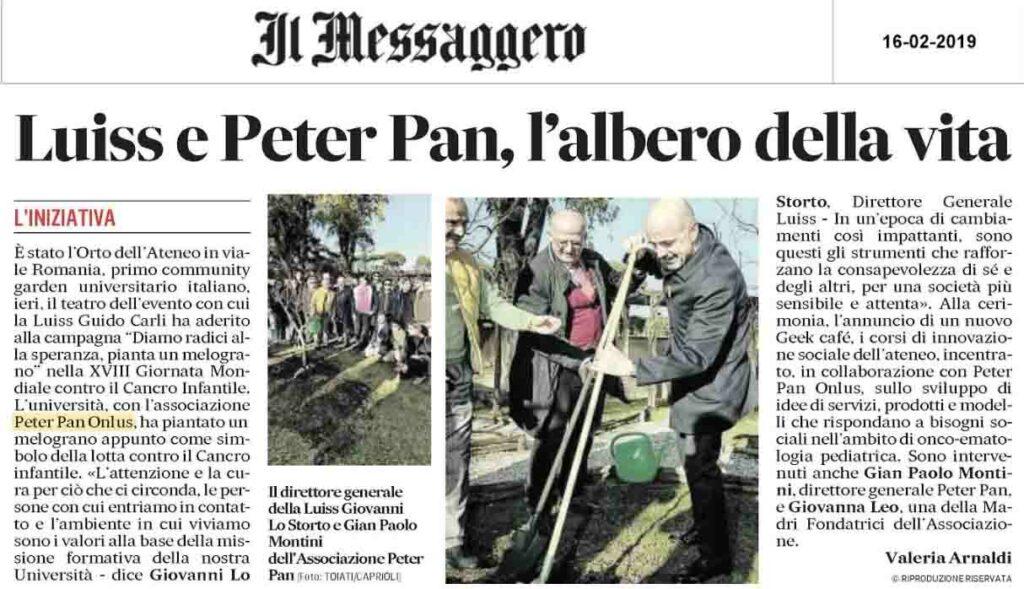 Peter Pan pianta un melograno alla LUISS in occasione della Giornata Mondiale contro il cancro infantile