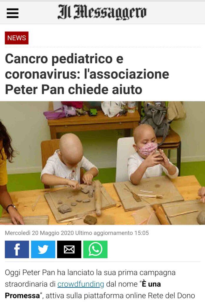Emergenza Coronavirus a Peter Pan il crowdfunding sul Messaggero