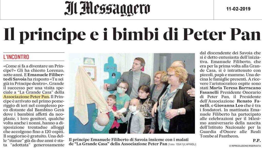 Emanuele Filiberto in visita a Peter Pan articolo del Messaggero