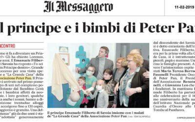 Il Principe e i bambini di Peter Pan sul Messaggero di Roma