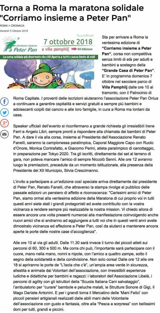 Articolo del Messaggero di Roma su evento maratona di Peter Pan