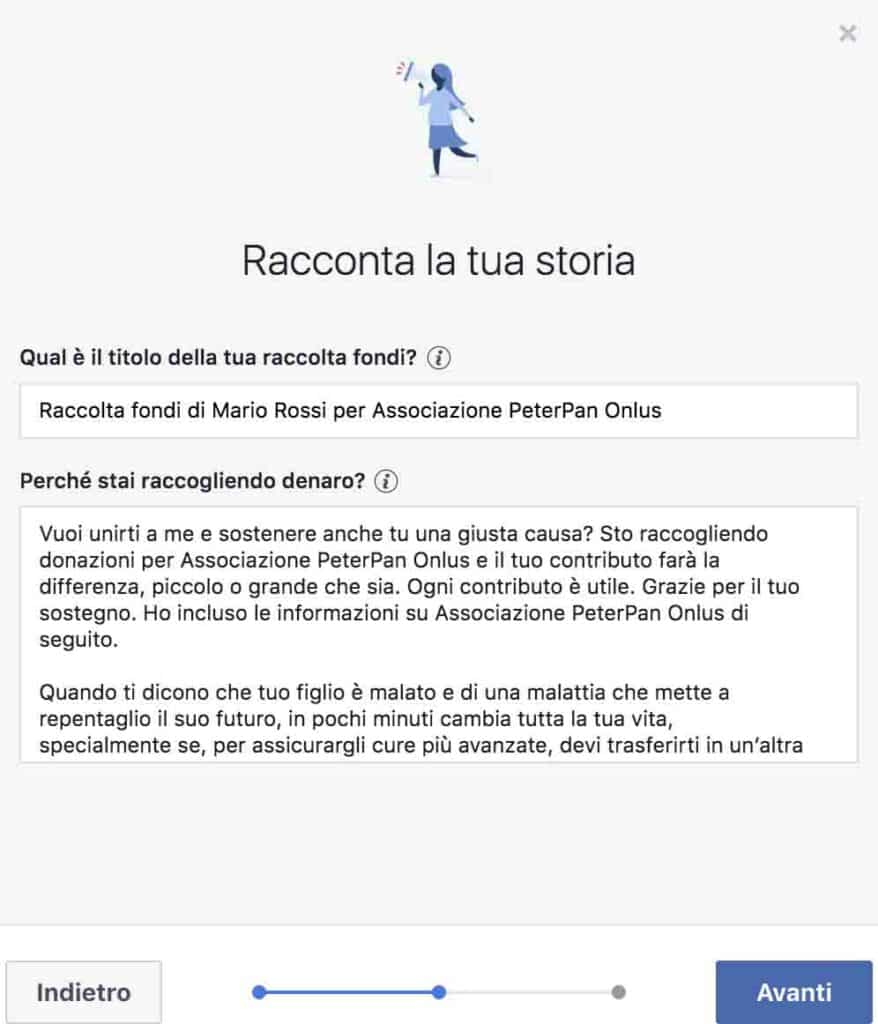 Apri una raccolta fondi su facebook a sostegno di Peter Pan