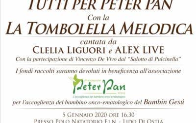 Tombolella Melodica: 5 gennaio Ostia a sostegno di Peter Pan