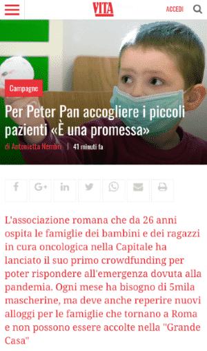 articolo su Vita sulla campagna di crowdfunding di Peter Pan